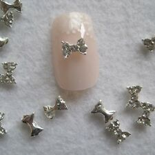 10pcs Fancy Silver Small Bow Metal Charms Metal Deco Charms Nail Art MD-652