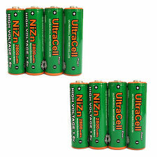 8 pcs 2800mWh AA NiZn 1.6V Volt Rechargeable Battery 2A LR06 Ultracell Green