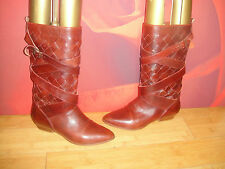 VINTAGE MANFIELD OXBLOOD LEATHER WEAVE MID CALF RIDING BOOTS  EU 38 *34*