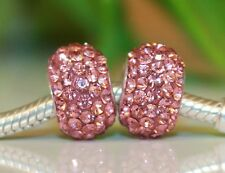 Rosa Pink Altrosa Diamant CZ Strass Glas 925 Sterling Silber European Bead Beads