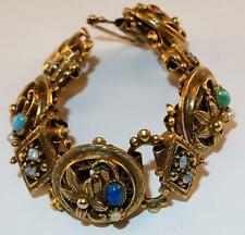 VINTAGE GOLDTONE OVAL DECORATED RHINESTONE&GLASS LINKS WIDE BOOK CHAIN BRACELET