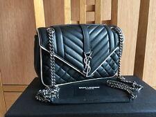 Authentic YSL Saint Laurent Black Leather Medium Soft Enveloppe Monogram Bag