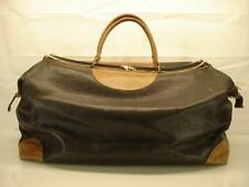 Vtg Fratelli Campanile Black Leather Large Duffle Travel Carry-on Bag Weekender