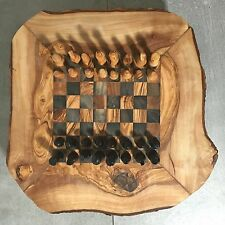 Chess Game Set from Olive Wood, rustic board, hand carved pieces, storage boxes