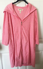 STAN HERMAN SIGNATURE Pink Hooded French Terry Zip Front Robe M $50