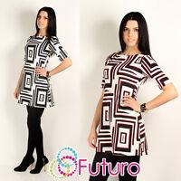 Elegant Crew Neck Women's Mini Dress Square Pattern Short Sleeve Tunic FA244