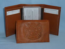 FIRE FIGHTER / FIREMAN    Leather TriFold Wallet    NEW    brown 2