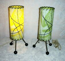 TWO Mid Century Danish Modern Atomic Era Lime Green Tri-Footed Column Lamps