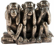 Bronzed See Hear Speak No Evil Wise Monkey Figurine Ornament