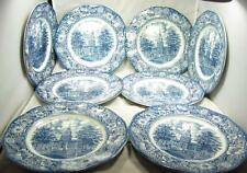 8 STAFFORDSHIRE LIBERTY BLUE INDEPENDENCE HALL CHINA DINNER PLATES 701-720