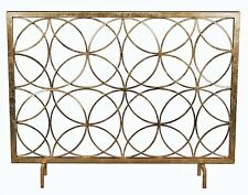 Modern Antique Gold Iron Circles Fireplace Fire Screen Geometric Contemporary