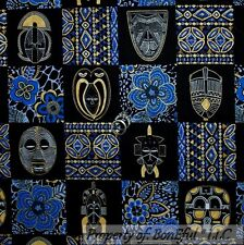 BonEful Fabric FQ Cotton Quilt Black Blue Gold African Lady Flower Block Animal