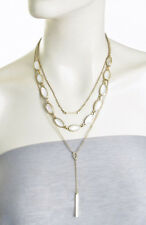 LUCKY BRAND Mother Of Pearl Stone Bar Y Drop Gold-Tone Layered Necklace