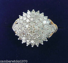 9ct Gold Tiered 1.00ct Diamond Cluster Ring, Size K 1/2