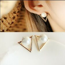Iryaa Fashion Triangle Pearl Gold Plated Stud Earrings