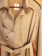 Trench Coat Mens 40R Wool Button Out Liner Brown Rain Overcoat JG Hook