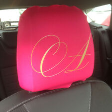 PINK FANCY INITIALS PRINT DESIGN CAR SEAT HEAD REST COVERS 2 PACK