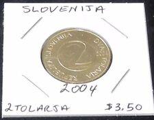 NICE Slovenia TWO Coin Set~ 2001 One Tolar (KM# 4) & 2004 Two Tolarja (KM# 5)