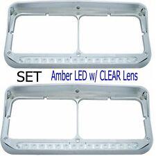 Headlight Bezel Visor Rect. Dual Light LED Peterbilt Freightliner Kenworth (SET)