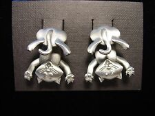 """JJ"" Jonette Jewelry Silver Pewter 'CAT Bottom 3-D' Pierced Earrings"