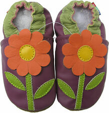 carozoo daisy purple 2-3y soft sole leather toddler shoes