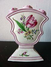 Bouquetière Tulipier 3 Trous Pique Fleurs Faience de Lunneville XIXeme