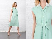 Vintage 70s Green Mod Dress White Striped A-Line Shirt Dress Small S