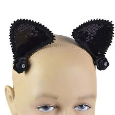 BLACK #SEQUIN CAT EARS ON HAIR CLIPS ADULT HALLOWEEN OUTFIT ACCESSORY