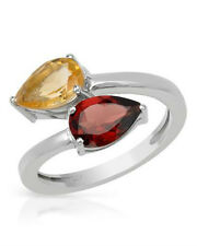 Sterling Cocktail Ring Pear Red Garnet Yellow Citrine TCW 2.45ctw s 6 NIB $220