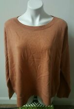 Eileen Fisher Orange 100% Merino Wool Boat Neck Long Sleeve Sweater Size M