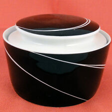 BLACK PEARL Block Spal Covered Sugar Bowl NEW NEVER USED Portugal Porcelain