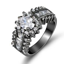Band Sz 8-11 White Topaz Black Stainless Steel Womans Wedding Anniversary Rings