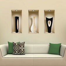 NEW 3 PCS BLACK WHITE VASES WALL STICKER 3D ART PICTURE VINYL REMOVABLE DECALS