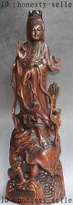 """24"""" Old chinese Buddhism boxwood carved dragon kwan-yin GuanYin buddha statue"""