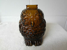 Vintage Wise Old Owl Amber Glass Still Slot Bank 6.25 Inch Tall Excellent Cond