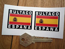 BULTACO ESPANA Spanish Flag Style Stickers 50mm Pair Spain Motorcycle Helmet