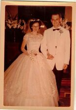Old Vintage Photograph Gorgeous Bride and Groom Wedding Gown