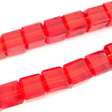 80 Quality Crystal Glass 4mm Facet Cube Beads Red
