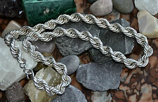 "Fabulous Chunky Ladies 925 Sterling Solid Silver 16"" Rope Link Neck Chain"