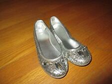 Girls Gymboree Silver Glitter Gems Ballet Flats Shoes Size 13