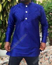 Odeneho Wear Blue Polished Cotton Top. African Clothing. Size XL