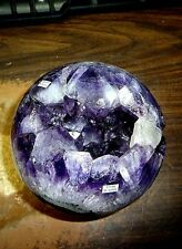 LARGE 5 INCH AMETHYST / QUARTZ CRYSTAL CLUSTER SPHERE FROM BRAZIL WITH STAND!!