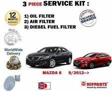 FOR MAZDA 6 2.2 DT DIESEL GJ 9/2012-- ON SERVICE KIT OIL AIR FUEL (3) FILTER SET