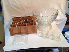 VTG punch bowl set cut glass with pedestal 12 cups 12 hooks and ladle complete