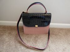 NWT Arcadia Leather Tote Satchel Purse Bag Italy Italian black rose pink white