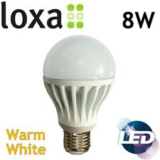 Loxa 8W LED E27 Light Bulb Edison Screw Lamp Warm White Bright 600lm 50000h
