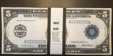 $100 In 1914 $5 Bills Play Money USA Prop Money WWI Era Actual Size!