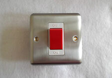 45Amp DOUBLE POLE SWITCH In SATIN CHROME (LIKE STAINLESS STEEL) COOKER SWITCH