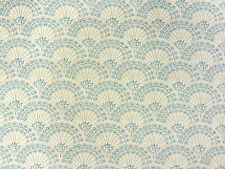 CLARKE & CLARKE FITZROY MINERAL BLUE FLORAL SCALLOP CURTAIN UPHOLSTERY FABRIC