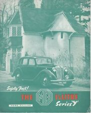 MG SERIES Y ONE & QUARTER LITRE ORIGINAL FACTORY BROCHURE HOME EDITION JULY 1950